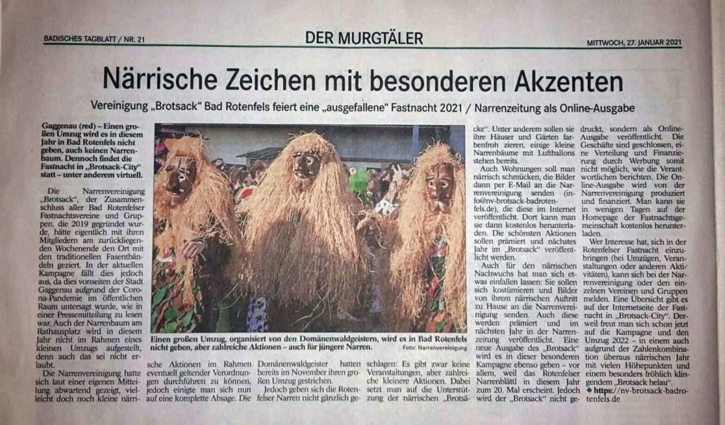 Badisches Tagblatt 27.01.2021